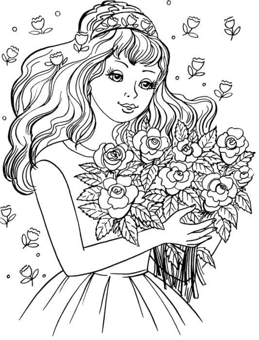 Раскраска Девочка с букетом. Скачать .  Распечатать