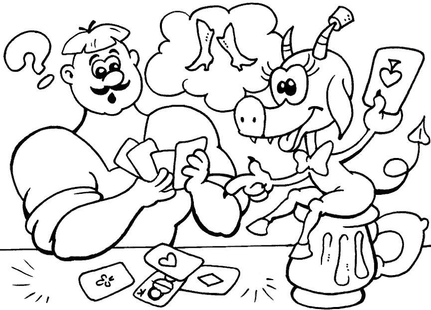 Раскраска казаки мульт, казак и хрюшка.