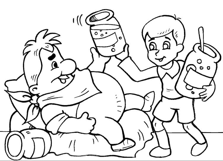 Раскраска Лечение Карлсона. герои сказок