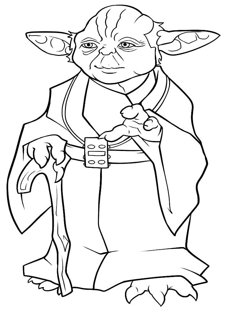 Раскраска Мастер Йода. Скачать Звездные войны.  Распечатать Звездные войны