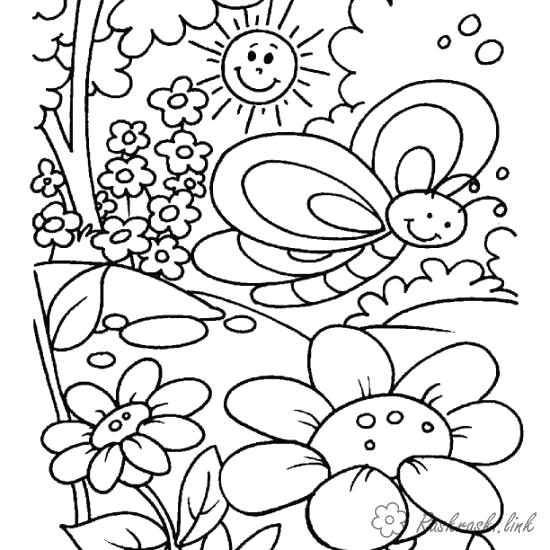 Раскраска  лето  лето бабочка солнце деревья цветочки. Скачать Лето.  Распечатать Времена года