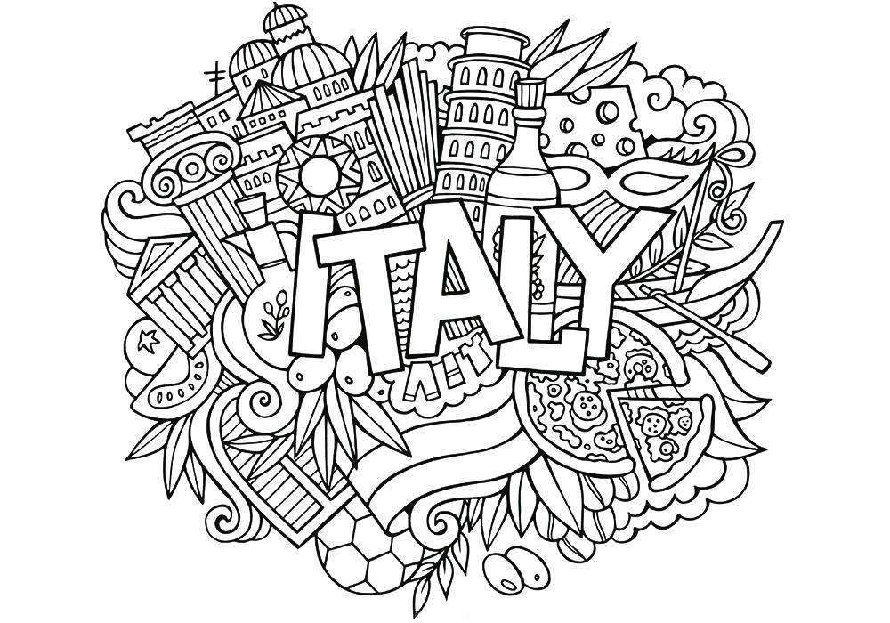 Раскраска  антистресс -Италия. Скачать антистресс.  Распечатать антистресс