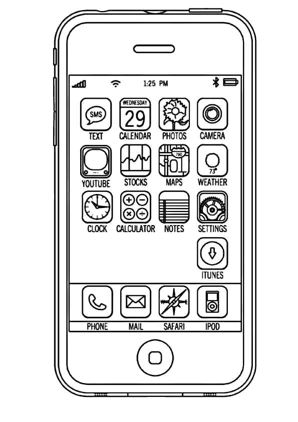 Раскраска Айфон . Скачать Телефон.  Распечатать Телефон