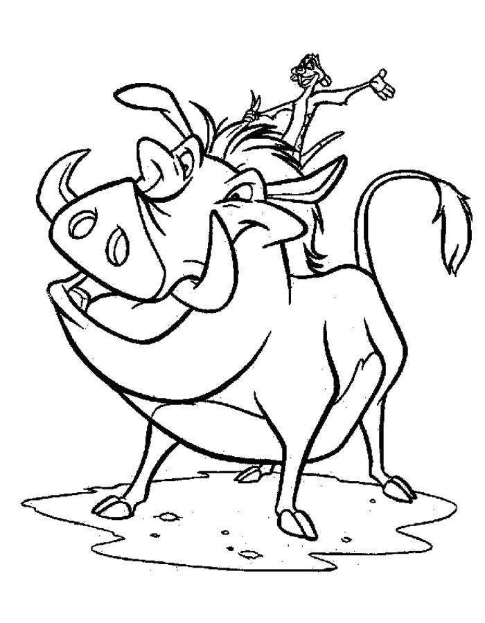 Раскраска  Тимон и Пумба.